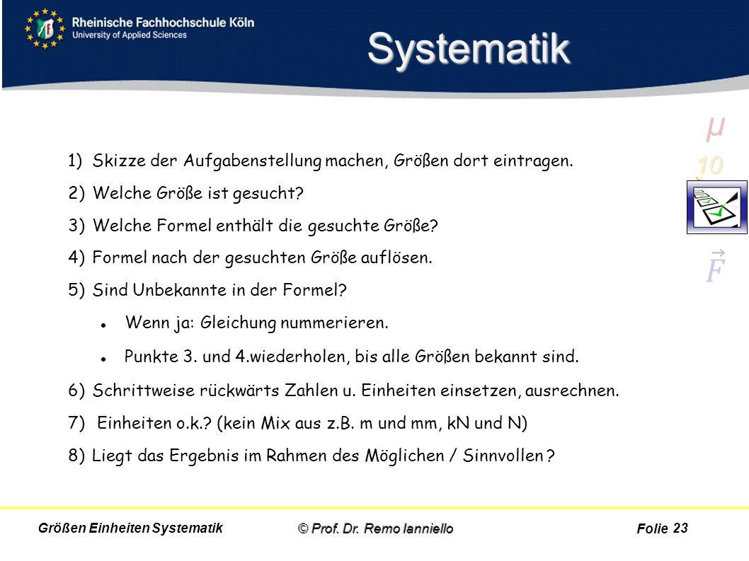 Folie Systematik 1)Skizze der Aufgabenstellung machen, Größen dort eintragen. 2)Welche Größe ist gesucht? 3)Welche Formel enthält die gesuchte Größe?