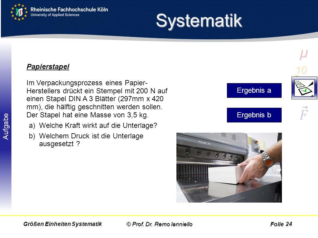 Folie Aufgabe Systematik © Prof. Dr. Remo IannielloGrößen Einheiten Systematik Papierstapel Im Verpackungsprozess eines Papier- Herstellers drückt ein