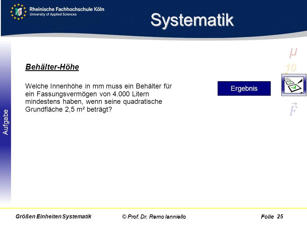 Folie Aufgabe Systematik © Prof. Dr. Remo IannielloGrößen Einheiten Systematik Behälter-Höhe Welche Innenhöhe in mm muss ein Behälter für ein Fassungs