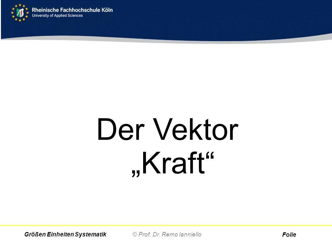 """Folie © Prof. Dr. Remo IannielloGrößen Einheiten Systematik Der Vektor """"Kraft"""""""