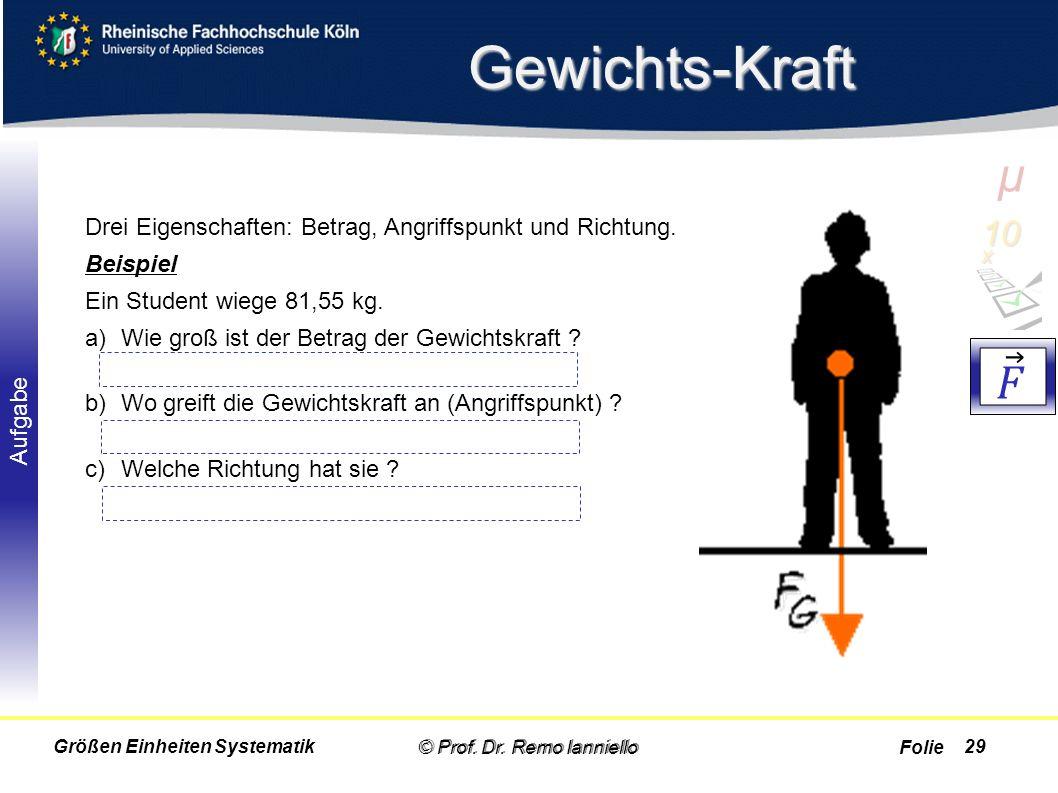 Folie Aufgabe Gewichts-Kraft © Prof. Dr. Remo Ianniello29 Drei Eigenschaften: Betrag, Angriffspunkt und Richtung. Beispiel Ein Student wiege 81,55 kg.