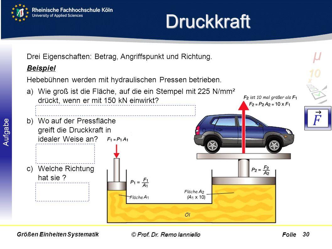 Folie Aufgabe Druckkraft © Prof. Dr. Remo Ianniello30 Drei Eigenschaften: Betrag, Angriffspunkt und Richtung. Beispiel Hebebühnen werden mit hydraulis