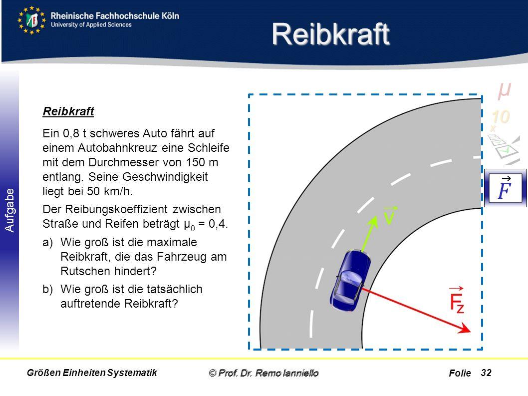 Folie Aufgabe Reibkraft Reibkraft © Prof. Dr. Remo Ianniello32 Ein 0,8 t schweres Auto fährt auf einem Autobahnkreuz eine Schleife mit dem Durchmesser