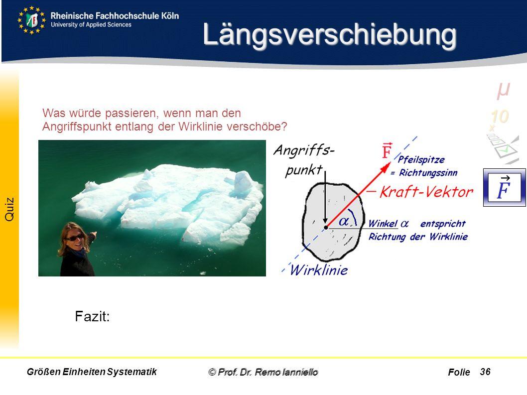 Folie Quiz Längsverschiebung © Prof. Dr. Remo Ianniello36 Was würde passieren, wenn man den Angriffspunkt entlang der Wirklinie verschöbe? Eine Kraft