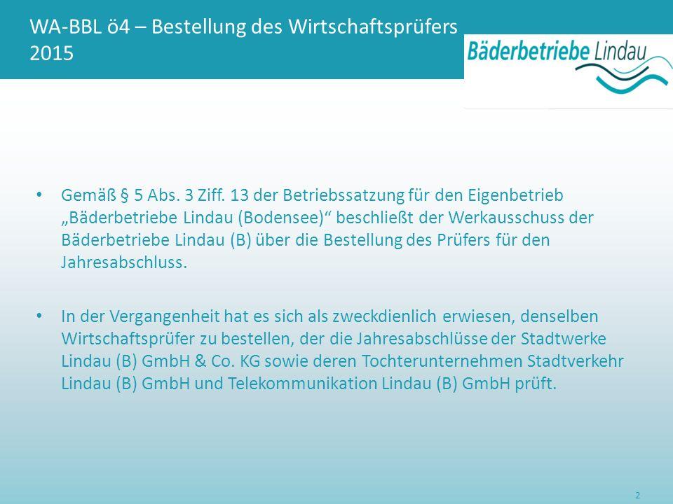 WA-BBL ö4 – Bestellung des Wirtschaftsprüfers 2015 In ihren Sitzungen vom 01.07.2015 haben die Aufsichtsräte der oben genannten Gesellschaften einheitlich die invra Treuhand AG, Pfeuferstraße 7, 81373 München zum Prüfer der Jahresabschlüsse 2015 bestellt.