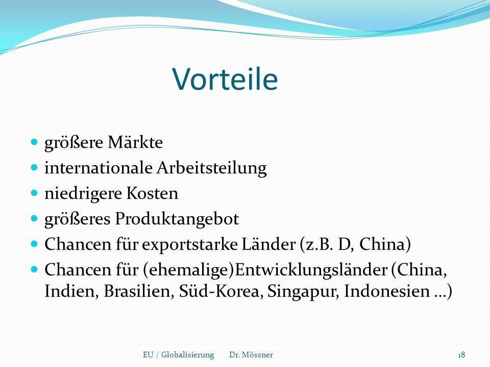 Vorteile größere Märkte internationale Arbeitsteilung niedrigere Kosten größeres Produktangebot Chancen für exportstarke Länder (z.B.