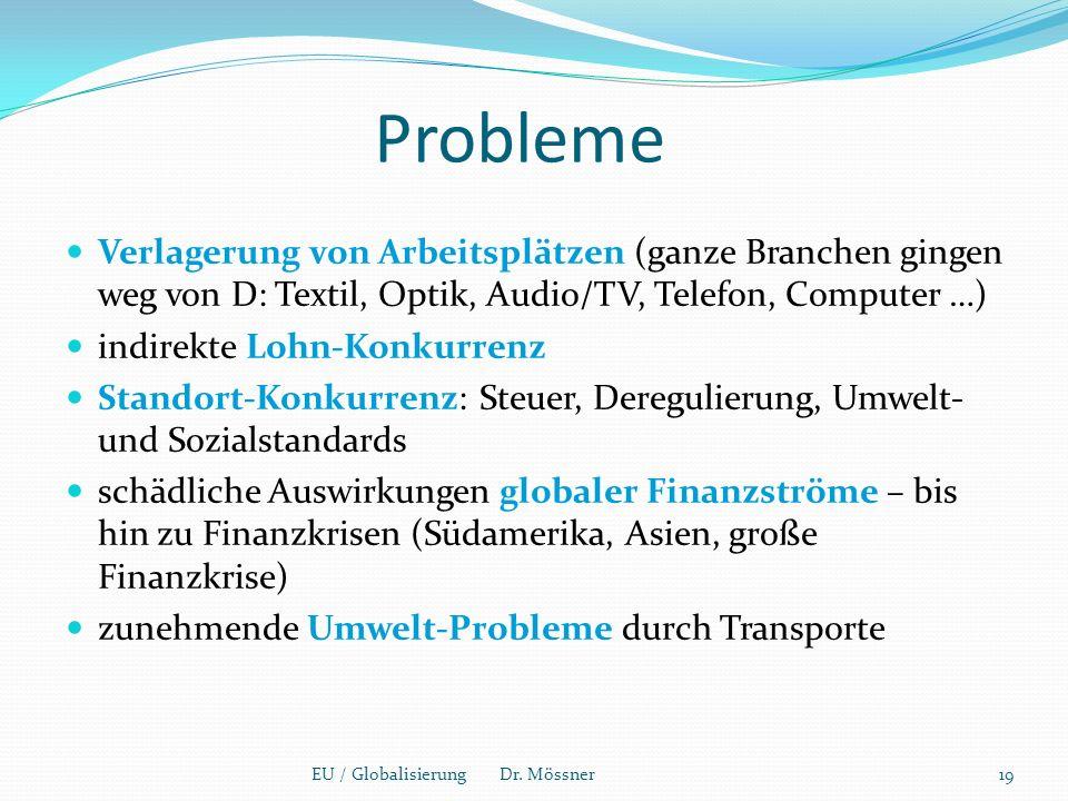 Probleme Verlagerung von Arbeitsplätzen (ganze Branchen gingen weg von D: Textil, Optik, Audio/TV, Telefon, Computer …) indirekte Lohn-Konkurrenz Standort-Konkurrenz: Steuer, Deregulierung, Umwelt- und Sozialstandards schädliche Auswirkungen globaler Finanzströme – bis hin zu Finanzkrisen (Südamerika, Asien, große Finanzkrise) zunehmende Umwelt-Probleme durch Transporte EU / Globalisierung Dr.