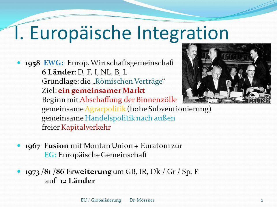 I. Europäische Integration 1958 EWG: Europ.