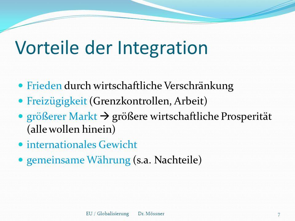 Vorteile der Integration Frieden durch wirtschaftliche Verschränkung Freizügigkeit (Grenzkontrollen, Arbeit) größerer Markt  größere wirtschaftliche Prosperität (alle wollen hinein) internationales Gewicht gemeinsame Währung (s.a.