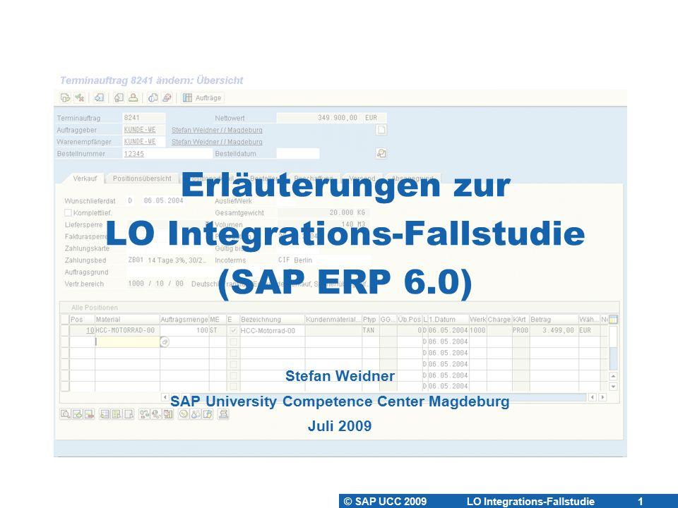 © SAP UCC 2009 LO Integrations-Fallstudie 12 Einkaufsinfosätze anlegen  Einkaufsinfosatz  Informationsquelle für die Beschaffung eines bestimmten Materials  bei einem bestimmten Lieferanten.