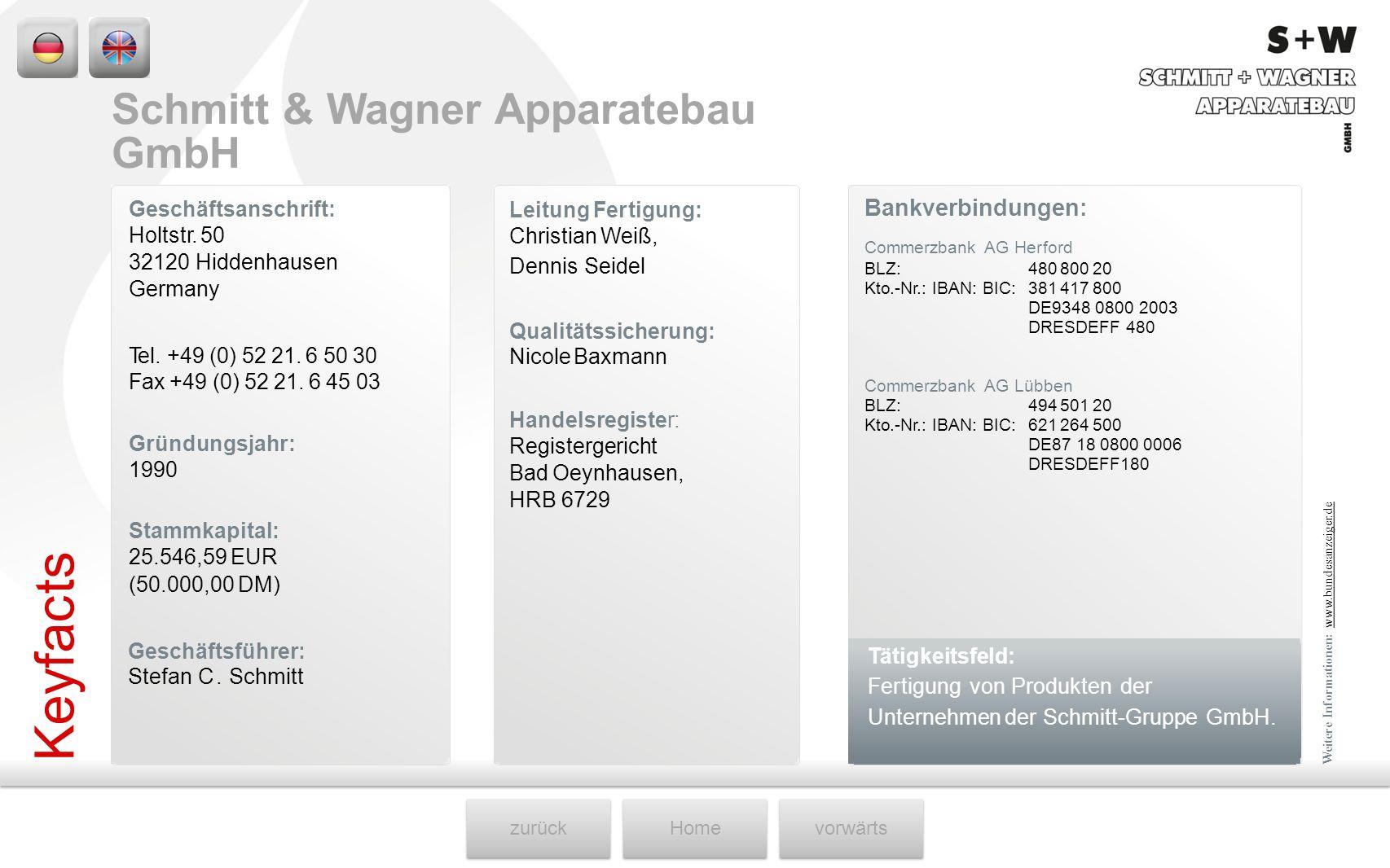zurückHomevorwärts Geschäftsanschrift: Holtstr. 50 32120 Hiddenhausen Germany Leitung Fertigung: Christian Weiß, Dennis Seidel Bankverbindungen: Comme