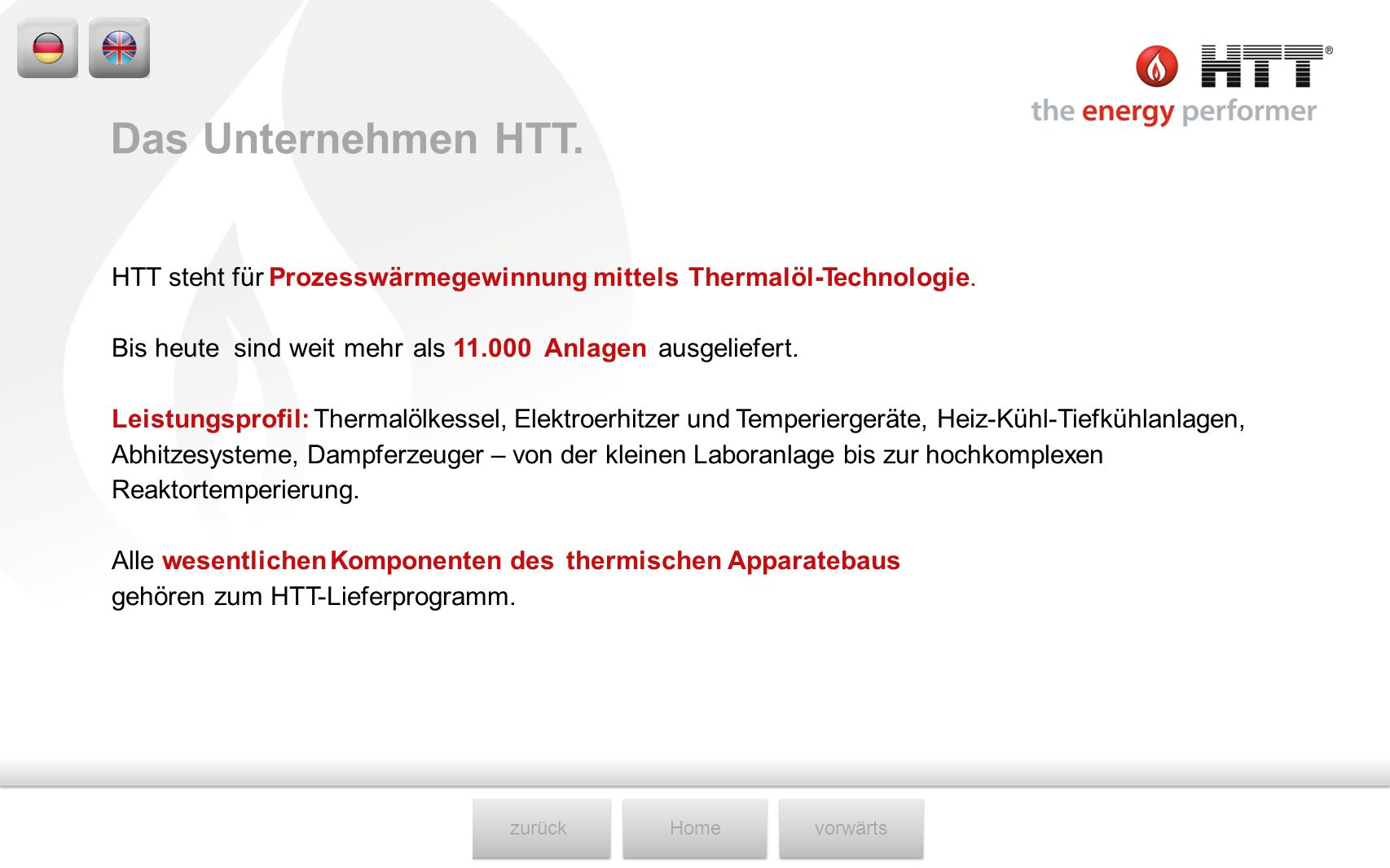 zurückHomevorwärts HTT steht für Prozesswärmegewinnung mittels Thermalöl-Technologie. Bis heute sind weit mehr als 11.000 Anlagen ausgeliefert. Leistu