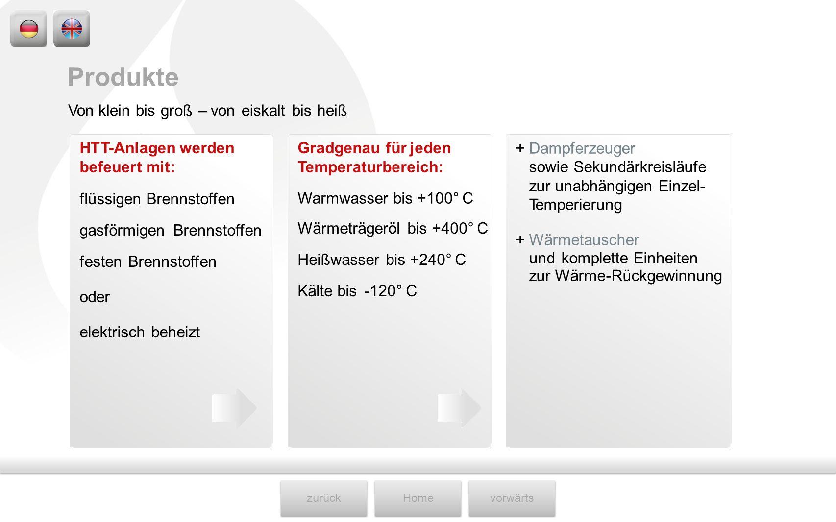 zurückHomevorwärts Von klein bis groß – von eiskalt bis heiß HTT-Anlagen werden befeuert mit: Gradgenau für jeden Temperaturbereich: + Dampferzeuger s