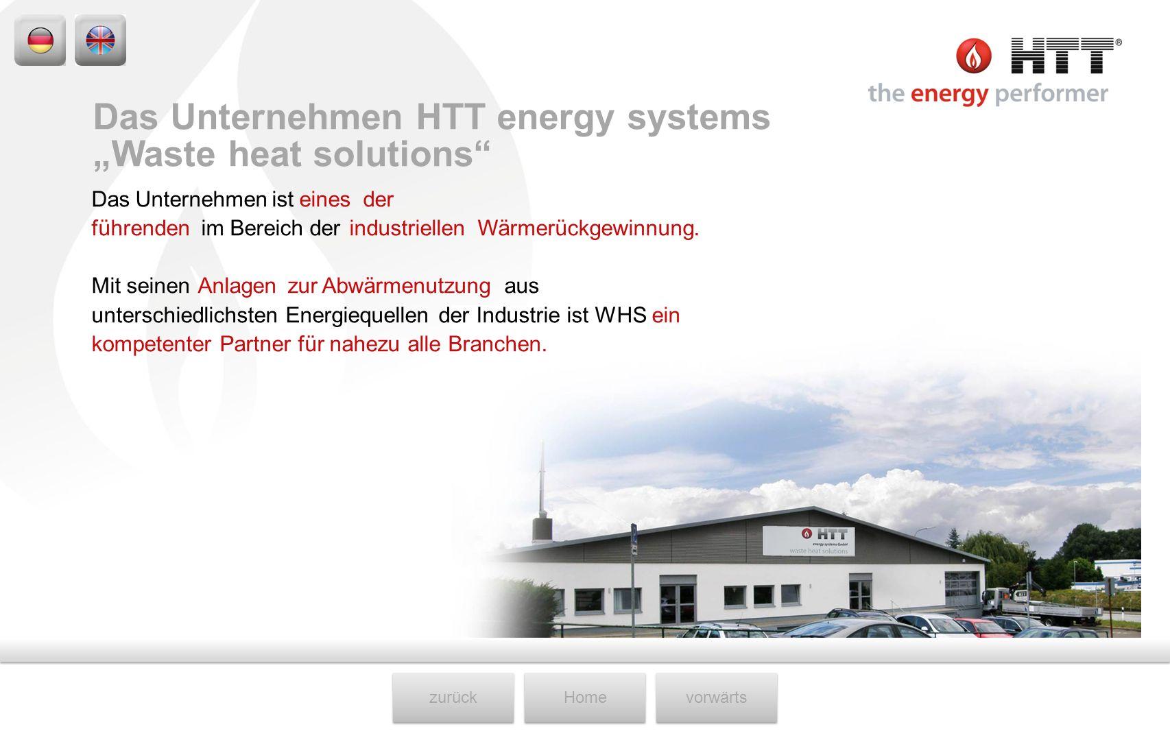 zurückHomevorwärts Das Unternehmen ist eines der führenden im Bereich der industriellen Wärmerückgewinnung. Mit seinen Anlagen zur Abwärmenutzung aus