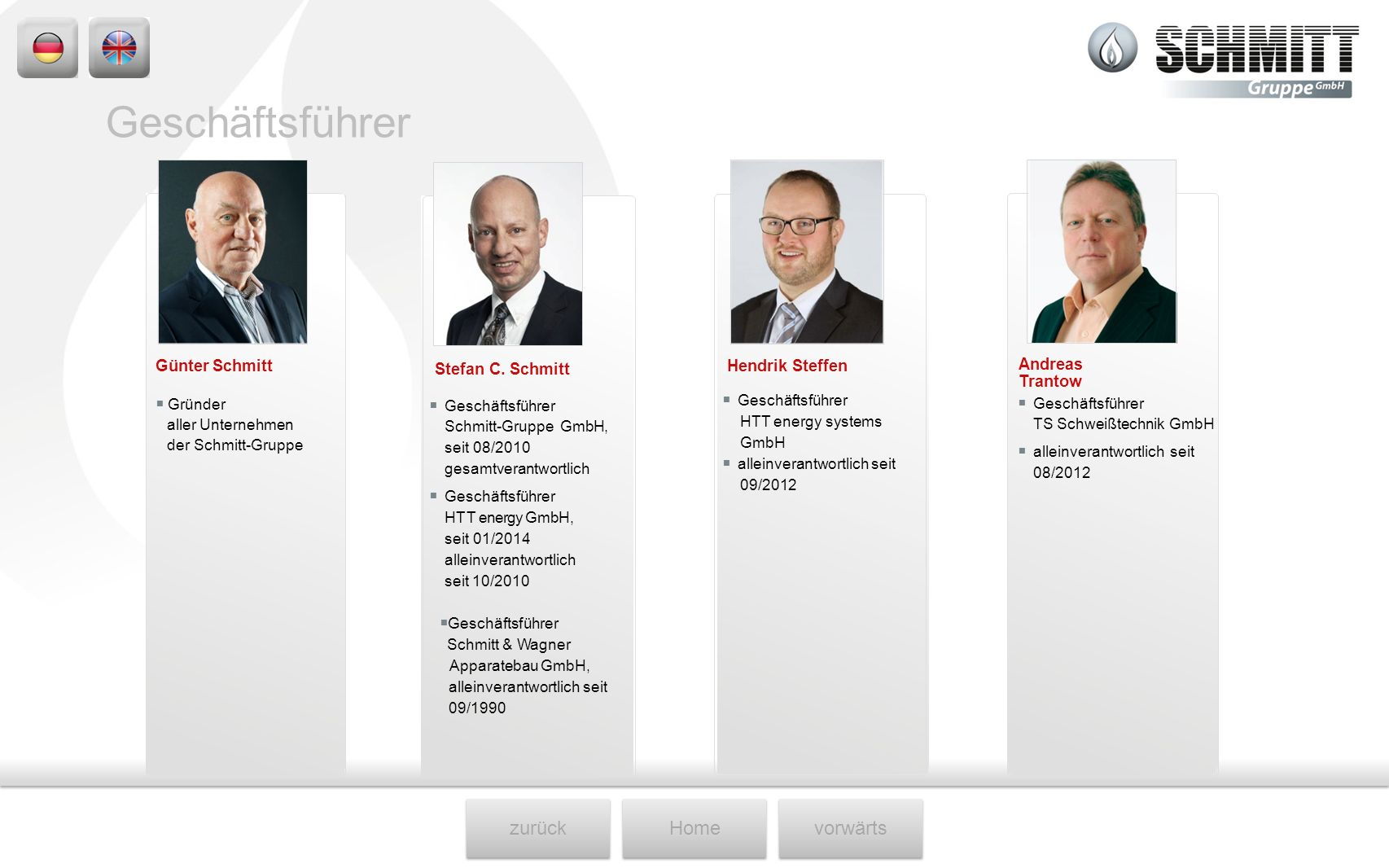 zurückHomevorwärts Andreas Trantow Gründer aller Unternehmen der Schmitt-Gruppe Stefan C. Schmitt Geschäftsführer HTT energy systems GmbH alleinverant