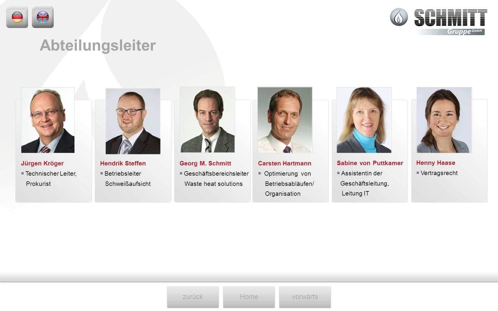 zurückHomevorwärts Henny Haase Vertragsrecht Sabine von Puttkamer Assistentin der Geschäftsleitung, Leitung IT Jürgen Kröger Technischer Leiter, Proku