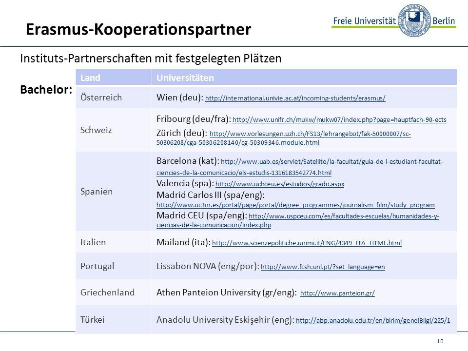 10 Erasmus-Kooperationspartner Instituts-Partnerschaften mit festgelegten Plätzen Bachelor: LandUniversitäten ÖsterreichWien (deu): http://international.univie.ac.at/incoming-students/erasmus/ http://international.univie.ac.at/incoming-students/erasmus/ Schweiz Fribourg (deu/fra): http://www.unifr.ch/mukw/mukw07/index.php page=hauptfach-90-ects http://www.unifr.ch/mukw/mukw07/index.php page=hauptfach-90-ects Zürich (deu): http://www.vorlesungen.uzh.ch/FS13/lehrangebot/fak-50000007/sc- 50306208/cga-50306208140/cg-50309346.module.html http://www.vorlesungen.uzh.ch/FS13/lehrangebot/fak-50000007/sc- 50306208/cga-50306208140/cg-50309346.module.html Spanien Barcelona (kat): http://www.uab.es/servlet/Satellite/la-facultat/guia-de-l-estudiant-facultat- ciencies-de-la-comunicacio/els-estudis-1316183542774.html http://www.uab.es/servlet/Satellite/la-facultat/guia-de-l-estudiant-facultat- ciencies-de-la-comunicacio/els-estudis-1316183542774.html Valencia (spa): http://www.uchceu.es/estudios/grado.aspx http://www.uchceu.es/estudios/grado.aspx Madrid Carlos III (spa/eng): http://www.uc3m.es/portal/page/portal/degree_programmes/journalism_film/study_program http://www.uc3m.es/portal/page/portal/degree_programmes/journalism_film/study_program Madrid CEU (spa/eng): http://www.uspceu.com/es/facultades-escuelas/humanidades-y- ciencias-de-la-comunicacion/index.php http://www.uspceu.com/es/facultades-escuelas/humanidades-y- ciencias-de-la-comunicacion/index.php ItalienMailand (ita): http://www.scienzepolitiche.unimi.it/ENG/4349_ITA_HTML.html http://www.scienzepolitiche.unimi.it/ENG/4349_ITA_HTML.html PortugalLissabon NOVA (eng/por): http://www.fcsh.unl.pt/ set_language=en http://www.fcsh.unl.pt/ set_language=en GriechenlandAthen Panteion University (gr/eng): http://www.panteion.gr/ http://www.panteion.gr/ TürkeiAnadolu University Eskişehir (eng): http://abp.anadolu.edu.tr/en/birim/genelBilgi/225/1 http://abp.anadolu.edu.tr/en/birim/genelBilgi/225/1