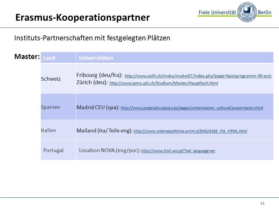 12 Erasmus-Kooperationspartner Instituts-Partnerschaften mit festgelegten Plätzen Master: LandUniversitäten Schweiz Fribourg (deu/fra): http://www.unifr.ch/mukw/mukw07/index.php page=basisprogramm-90-ects http://www.unifr.ch/mukw/mukw07/index.php page=basisprogramm-90-ects Zürich (deu): http://www.ipmz.uzh.ch/Studium/Master/Hauptfach.htmlhttp://www.ipmz.uzh.ch/Studium/Master/Hauptfach.html Spanien Madrid CEU (spa): http://www.posgrado.uspceu.es/pages/comunicacion_cultural/presentacion.html http://www.posgrado.uspceu.es/pages/comunicacion_cultural/presentacion.html Italien Mailand (ita/ Teile eng): http://www.scienzepolitiche.unimi.it/ENG/4358_ITA_HTML.html http://www.scienzepolitiche.unimi.it/ENG/4358_ITA_HTML.html PortugalLissabon NOVA (eng/por): http://www.fcsh.unl.pt/ set_language=en http://www.fcsh.unl.pt/ set_language=en