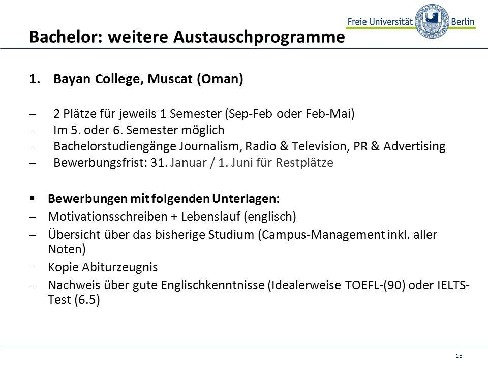 15 Bachelor: weitere Austauschprogramme 1.