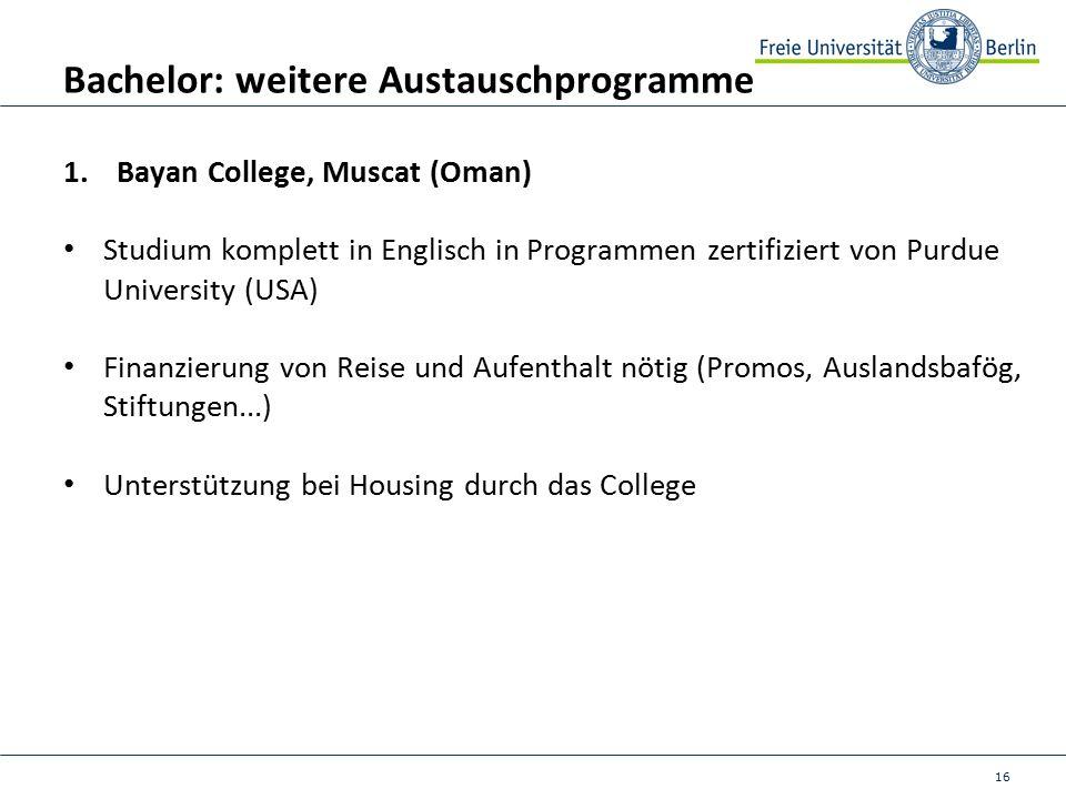 16 Bachelor: weitere Austauschprogramme 1.