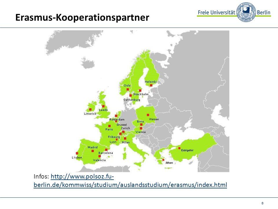 8 Erasmus-Kooperationspartner Infos: http://www.polsoz.fu- berlin.de/kommwiss/studium/auslandsstudium/erasmus/index.htmlhttp://www.polsoz.fu- berlin.de/kommwiss/studium/auslandsstudium/erasmus/index.html