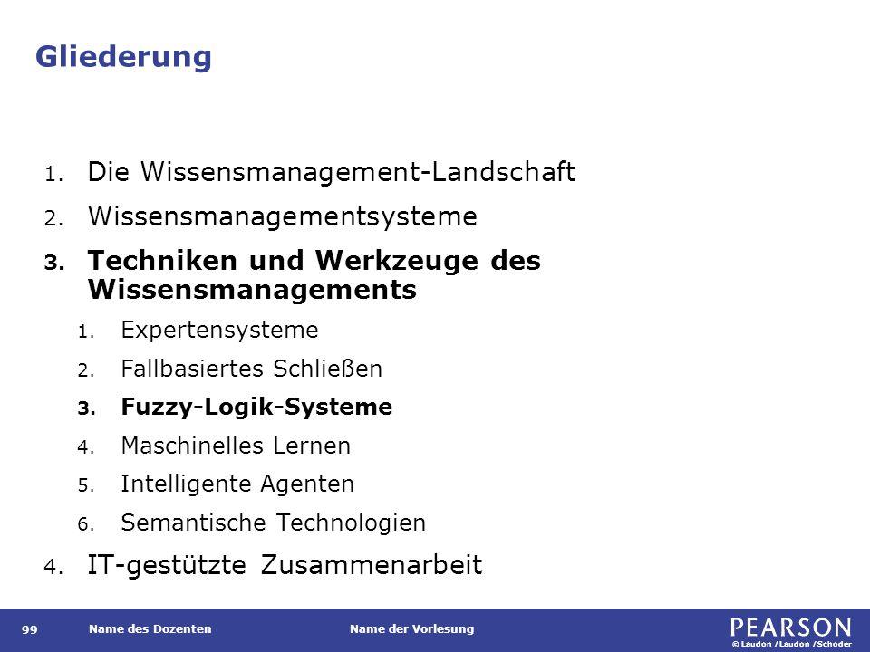 © Laudon /Laudon /Schoder Name des DozentenName der Vorlesung Gliederung 99 1. Die Wissensmanagement-Landschaft 2. Wissensmanagementsysteme 3. Technik