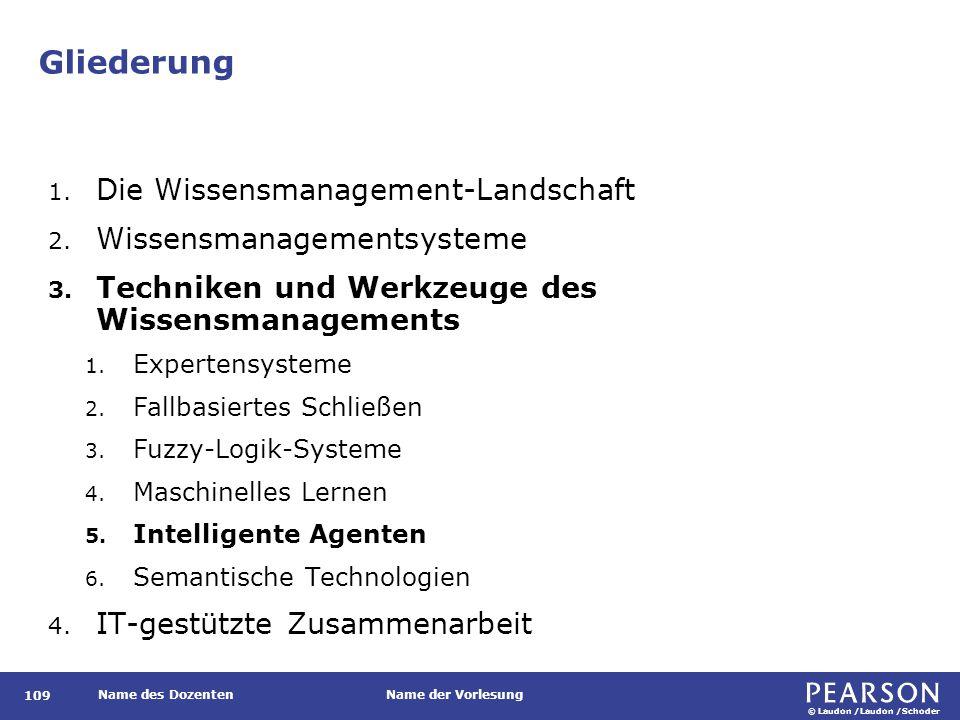 © Laudon /Laudon /Schoder Name des DozentenName der Vorlesung Gliederung 109 1. Die Wissensmanagement-Landschaft 2. Wissensmanagementsysteme 3. Techni