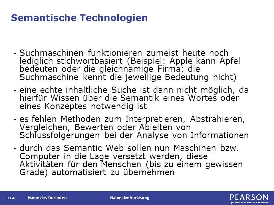 © Laudon /Laudon /Schoder Name des DozentenName der Vorlesung Semantische Technologien 114 Suchmaschinen funktionieren zumeist heute noch lediglich st