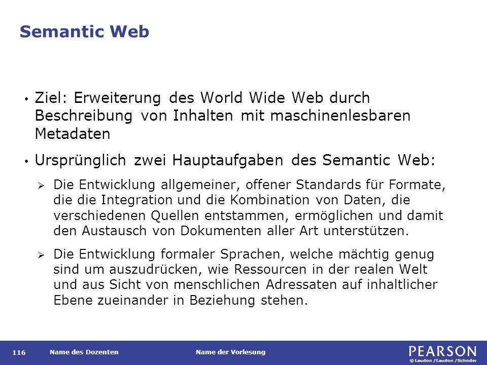 © Laudon /Laudon /Schoder Name des DozentenName der Vorlesung Semantic Web 116 Ziel: Erweiterung des World Wide Web durch Beschreibung von Inhalten mi
