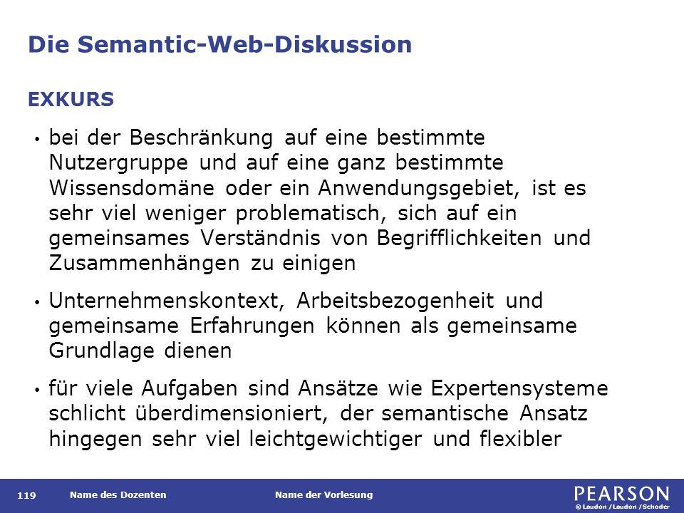 © Laudon /Laudon /Schoder Name des DozentenName der Vorlesung Die Semantic-Web-Diskussion 119 bei der Beschränkung auf eine bestimmte Nutzergruppe und