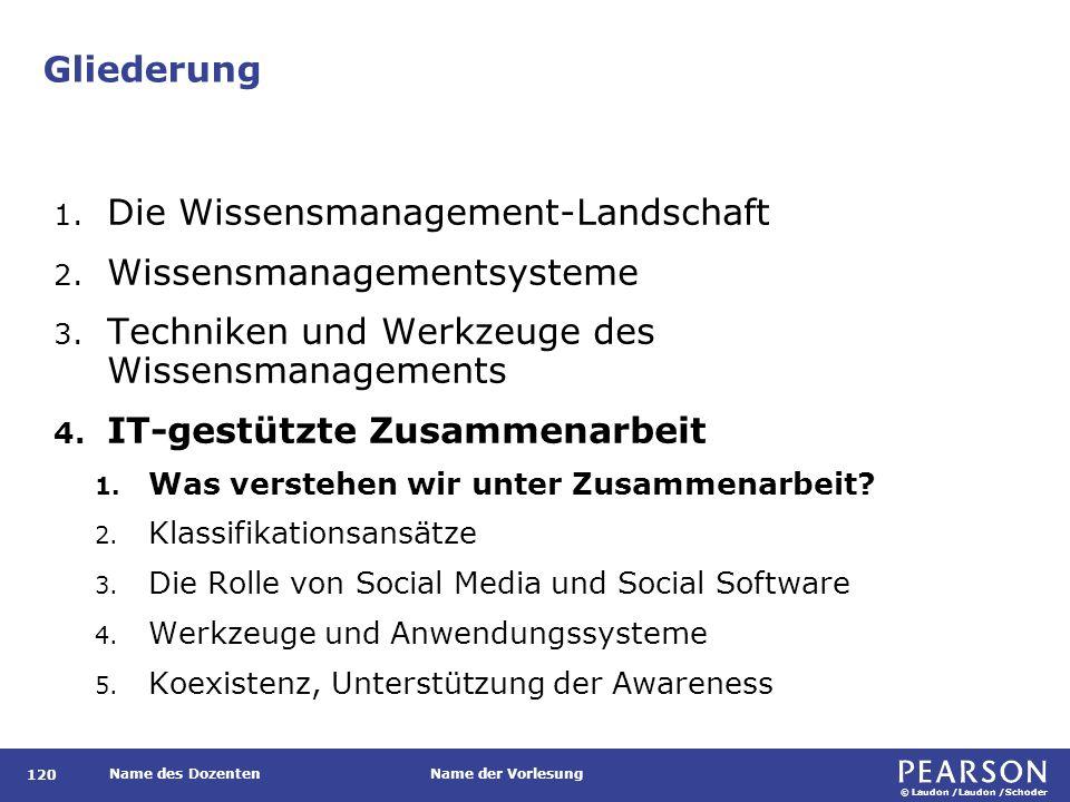 © Laudon /Laudon /Schoder Name des DozentenName der Vorlesung Gliederung 120 1. Die Wissensmanagement-Landschaft 2. Wissensmanagementsysteme 3. Techni