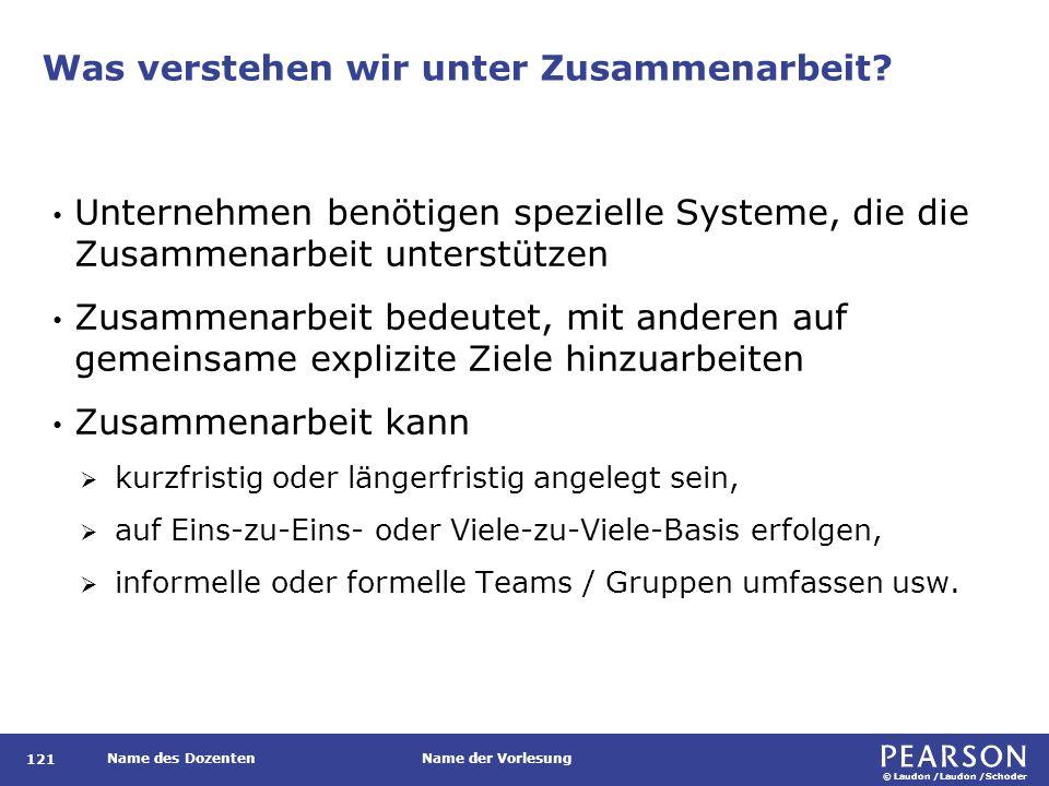 © Laudon /Laudon /Schoder Name des DozentenName der Vorlesung Was verstehen wir unter Zusammenarbeit? 121 Unternehmen benötigen spezielle Systeme, die