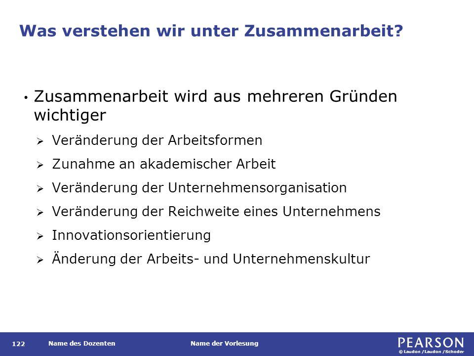 © Laudon /Laudon /Schoder Name des DozentenName der Vorlesung Was verstehen wir unter Zusammenarbeit.