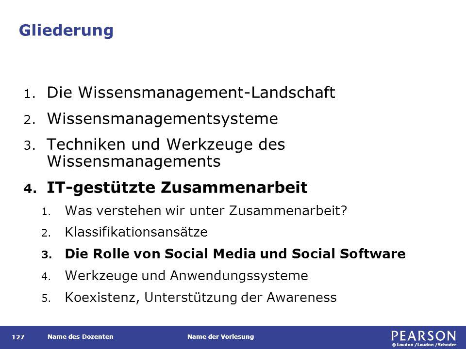 © Laudon /Laudon /Schoder Name des DozentenName der Vorlesung Gliederung 127 1. Die Wissensmanagement-Landschaft 2. Wissensmanagementsysteme 3. Techni