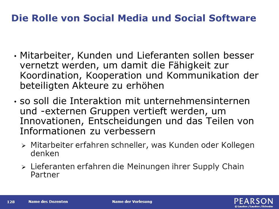 © Laudon /Laudon /Schoder Name des DozentenName der Vorlesung Die Rolle von Social Media und Social Software 128 Mitarbeiter, Kunden und Lieferanten s
