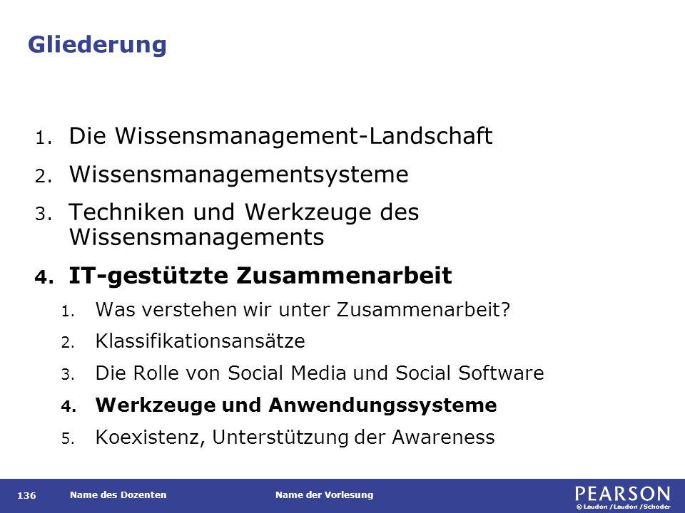 © Laudon /Laudon /Schoder Name des DozentenName der Vorlesung Gliederung 136 1. Die Wissensmanagement-Landschaft 2. Wissensmanagementsysteme 3. Techni