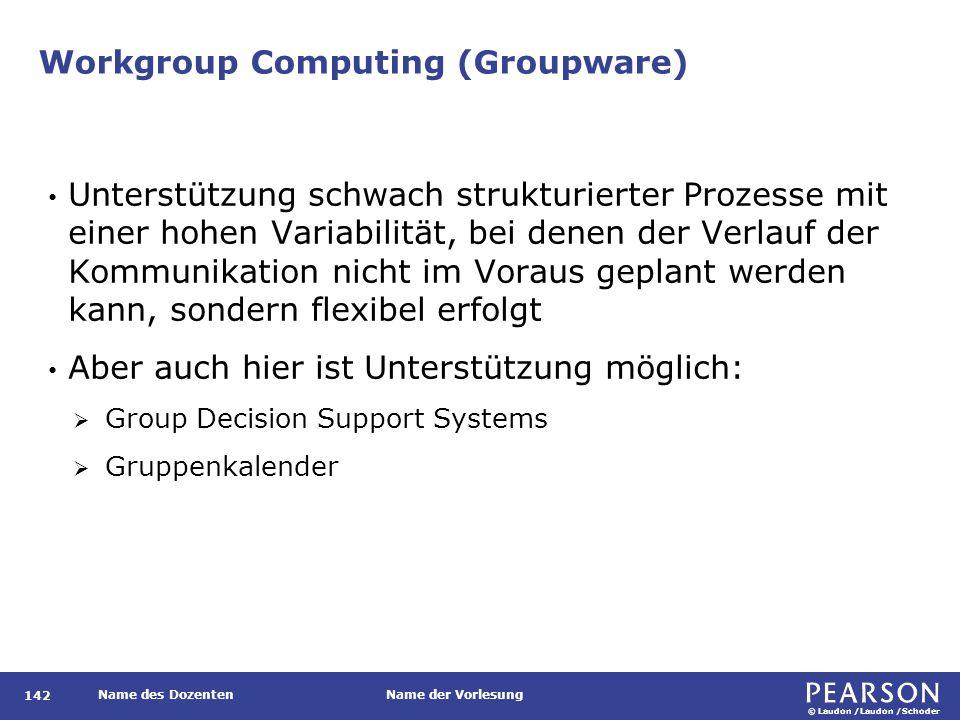 © Laudon /Laudon /Schoder Name des DozentenName der Vorlesung Workgroup Computing (Groupware) 142 Unterstützung schwach strukturierter Prozesse mit ei