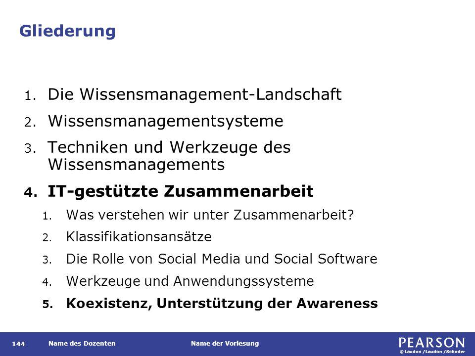 © Laudon /Laudon /Schoder Name des DozentenName der Vorlesung Gliederung 144 1. Die Wissensmanagement-Landschaft 2. Wissensmanagementsysteme 3. Techni