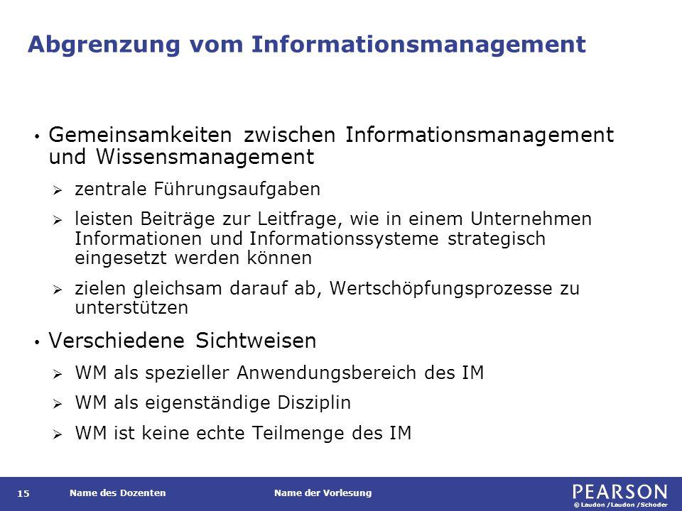 © Laudon /Laudon /Schoder Name des DozentenName der Vorlesung Abgrenzung vom Informationsmanagement 15 Gemeinsamkeiten zwischen Informationsmanagement