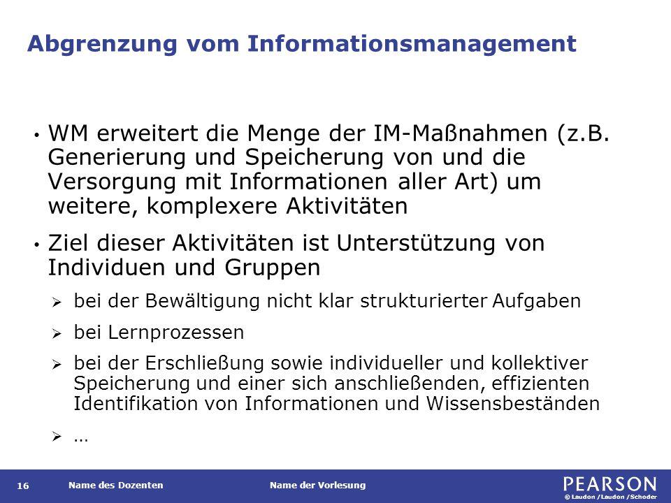 © Laudon /Laudon /Schoder Name des DozentenName der Vorlesung Abgrenzung vom Informationsmanagement 16 WM erweitert die Menge der IM-Maßnahmen (z.B.