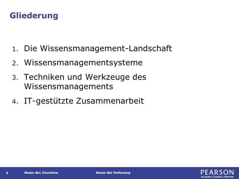 © Laudon /Laudon /Schoder Name des DozentenName der Vorlesung Gliederung 4 1. Die Wissensmanagement-Landschaft 2. Wissensmanagementsysteme 3. Technike