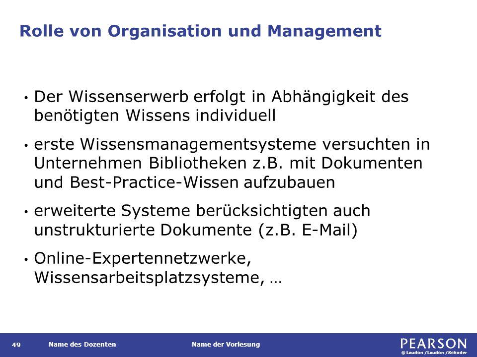© Laudon /Laudon /Schoder Name des DozentenName der Vorlesung Rolle von Organisation und Management 49 Der Wissenserwerb erfolgt in Abhängigkeit des b