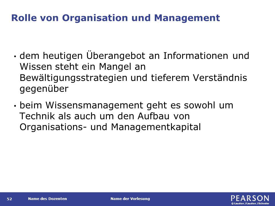 © Laudon /Laudon /Schoder Name des DozentenName der Vorlesung Rolle von Organisation und Management 52 dem heutigen Überangebot an Informationen und W
