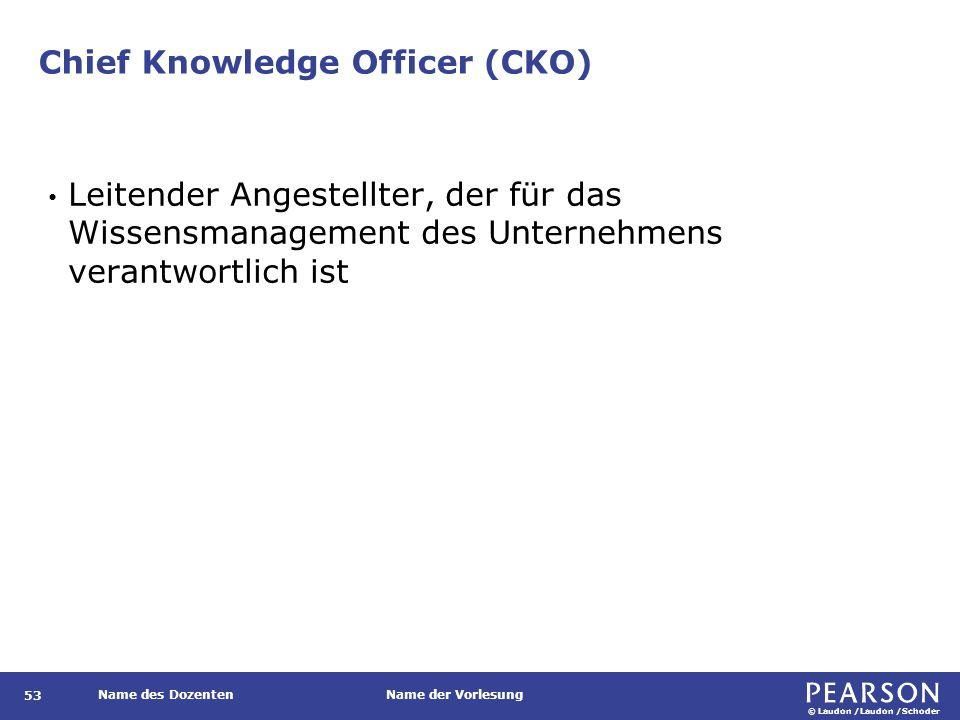 © Laudon /Laudon /Schoder Name des DozentenName der Vorlesung Chief Knowledge Officer (CKO) 53 Leitender Angestellter, der für das Wissensmanagement des Unternehmens verantwortlich ist