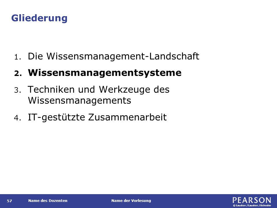 © Laudon /Laudon /Schoder Name des DozentenName der Vorlesung Gliederung 57 1. Die Wissensmanagement-Landschaft 2. Wissensmanagementsysteme 3. Technik