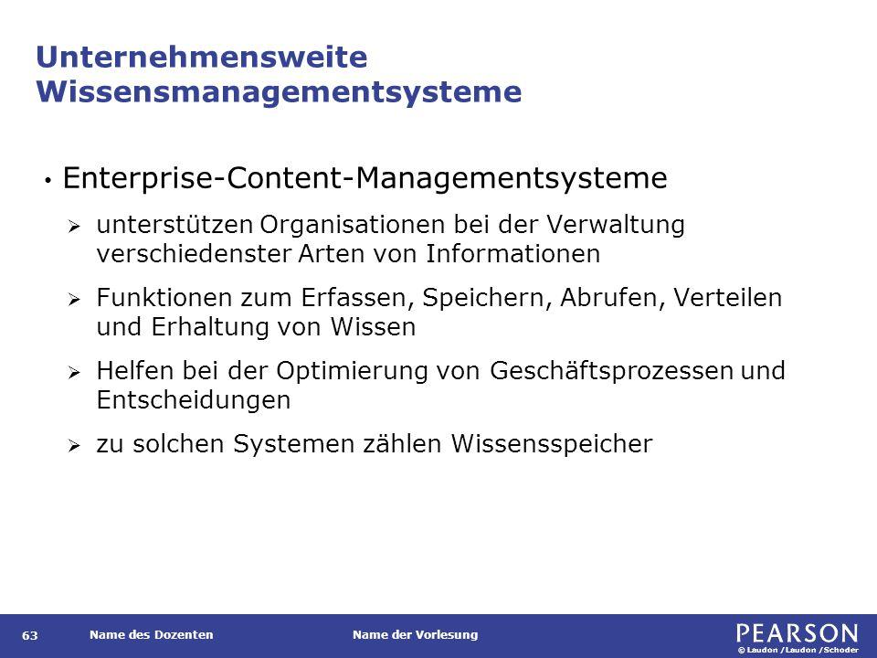 © Laudon /Laudon /Schoder Name des DozentenName der Vorlesung Unternehmensweite Wissensmanagementsysteme 63 Enterprise-Content-Managementsysteme  unt