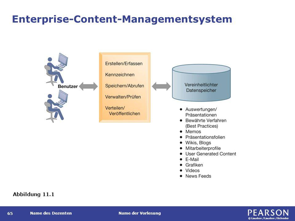 © Laudon /Laudon /Schoder Name des DozentenName der Vorlesung Enterprise-Content-Managementsystem 65 Abbildung 11.1