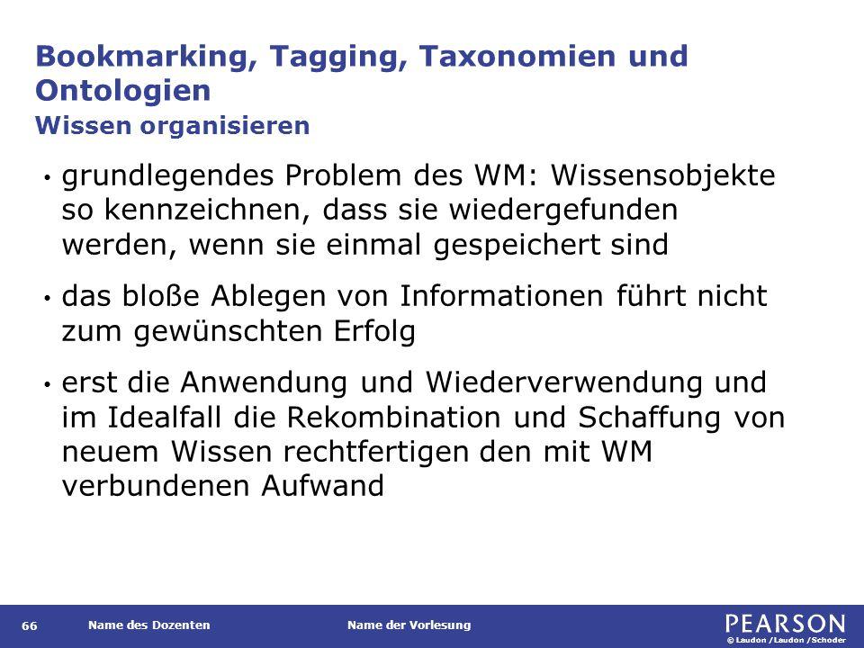 © Laudon /Laudon /Schoder Name des DozentenName der Vorlesung Bookmarking, Tagging, Taxonomien und Ontologien 66 grundlegendes Problem des WM: Wissens