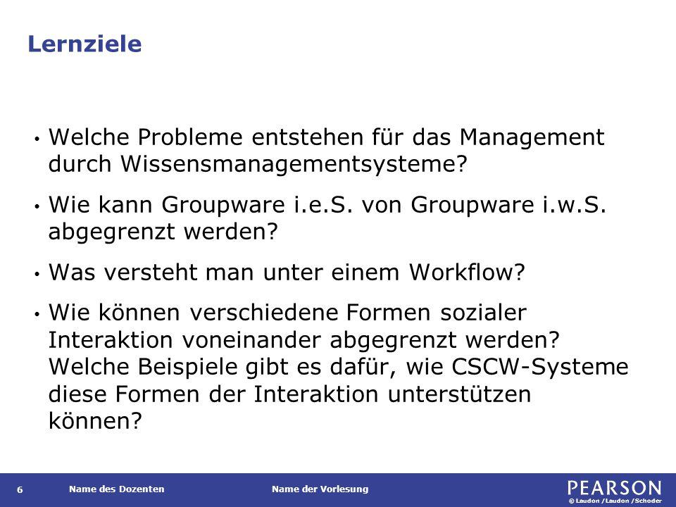 © Laudon /Laudon /Schoder Name des DozentenName der Vorlesung Lernziele 6 Welche Probleme entstehen für das Management durch Wissensmanagementsysteme?