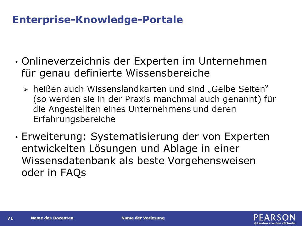 © Laudon /Laudon /Schoder Name des DozentenName der Vorlesung Enterprise-Knowledge-Portale 71 Onlineverzeichnis der Experten im Unternehmen für genau